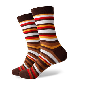 Men's Funny Colorful Combed Cotton Socks Orange Casual  Dress Wedding Socks(5pairs/lot) - J.Cooper Classic Neckwear & Accessories