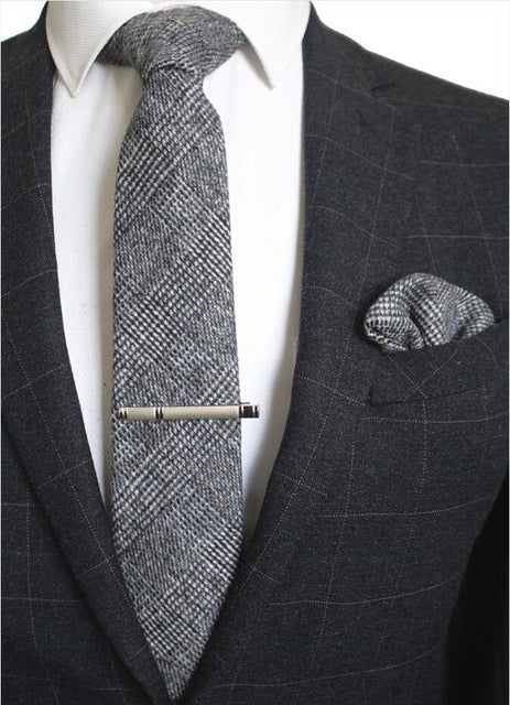 Gray Plaid Wool Necktie | Pocket Square | Tie Clip - J.Cooper Classic Neckwear & Accessories