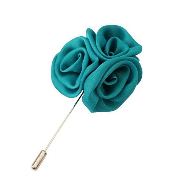Aqua Silk Rose Cluster Men Lapel Pins For Suits - J.Cooper Classic Neckwear & Accessories