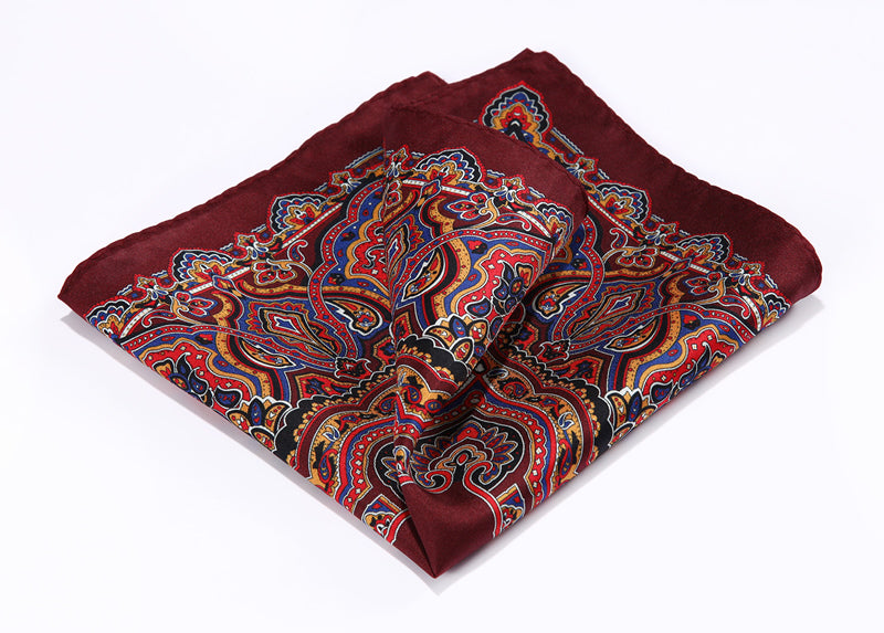 Burgundy Blue  100% Natural Silk Pocket Square - J.Cooper Classic Neckwear & Accessories