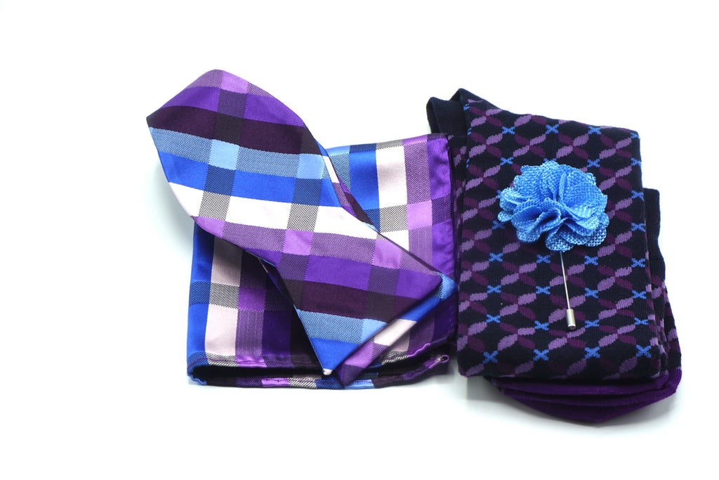 Purple Blue Plaid Bowtie and Pocket Square | Black Purple Blue Socks | Blue Lapel Flower - J.Cooper Classic Neckwear & Accessories
