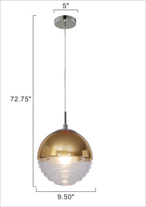 9.5 inch Pendant with half-hemisphere plated shade