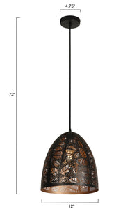 12 Inch Pendant Light With Precision Cut Metal Shade