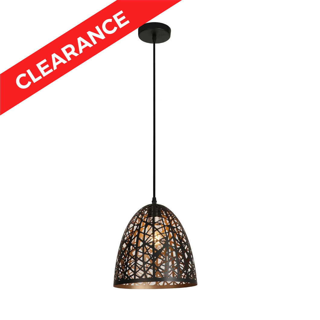 9.875 Inch Mini Pendant With Precision Cut Metal Shade