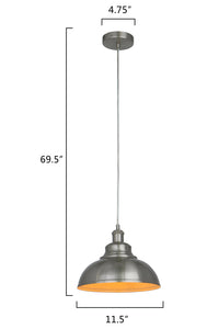 11.5 Inch Pendant Light Lamp Nickel Brushed Plated Metal Shade