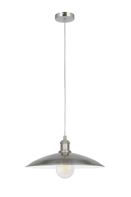 14 Inch Pendant Light Lamp Brushed Nickel Plated Metal Shade