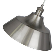 13.25 Inch Pendant Light Lamp Brushed Nickel Plated Metal Shade