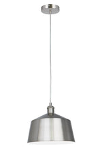 10.75 Inch Pendant Light Lamp Brushed Nickel Plated Metal Shade