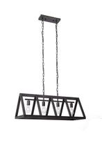 37.5 Inch Width Pendant Lamp With Black Painted Metal Frame (4 Lights)