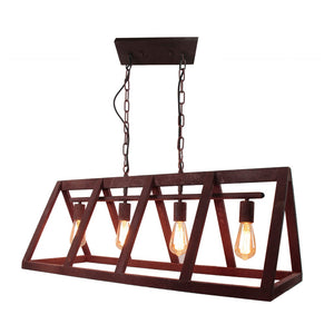 37.5 Inch Width Pendant Lamp With Rust Metal Frame  (4 Lights)
