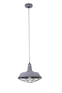 14 Inch Pendant Light Lamp With Concrete Finish Metal Shade