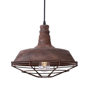 14 Inch Pendant Light Lamp With Rust Finish Metal Shade