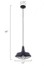 14 Inch Pendant Light Lamp With Black Finished Metal Shade