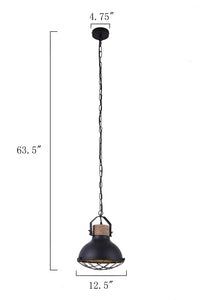 12.5 Inch Pendant Light Lamp With Black Finish Metal Shade