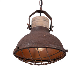 12.5 Inch Pendant Light Lamp With Rust Finish Metal Shade