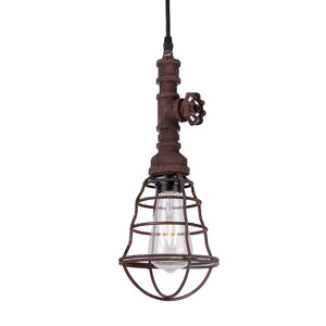 5.5 Inch Pendant Light Lamp With Rust Finished Grill Metal Shade