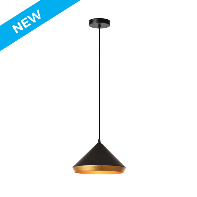 10 inch matte black and gold aluminum, angular pendant light