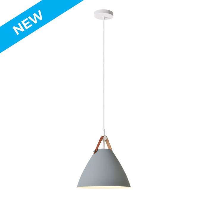 10.5 inch matte dark grey with white inside aluminum and leather strap pendant light