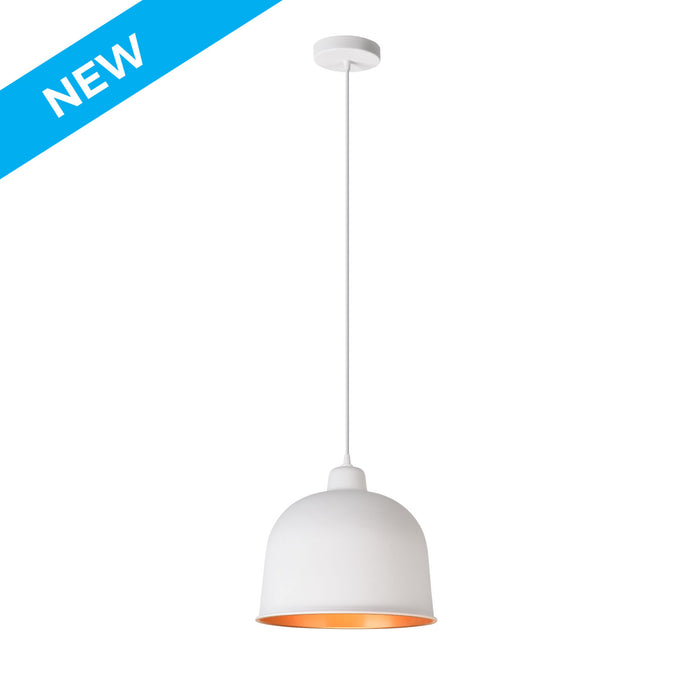 11.8 inch matte white with inside gold rounded aluminum pendant light