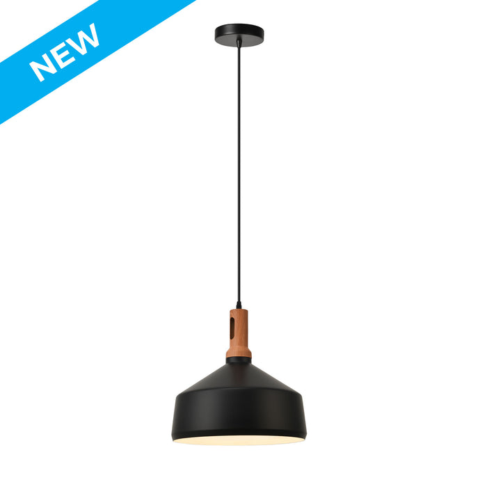 13.7 inch matte black and wooden finial with white inside, aluminum pendant light