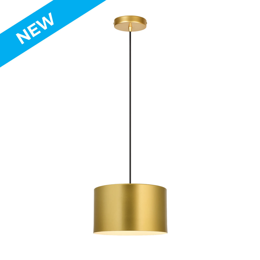 10 inch gold painted finish with white inside, aluminum cylinder pendant light
