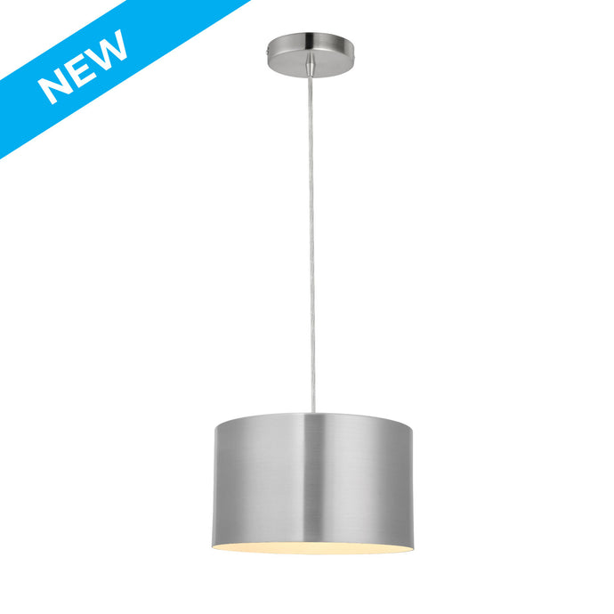 10 inch satin aluminum finish with white inside cylinder pendant light