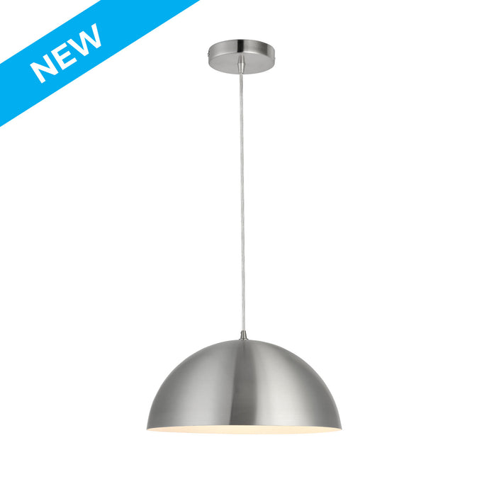15.75 inch satin aluminum with white inside semi-globe pendant light
