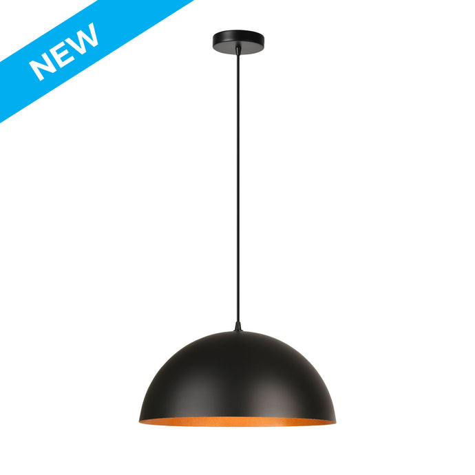15.75 inch matte black  with gold inside semi-globe pendant light