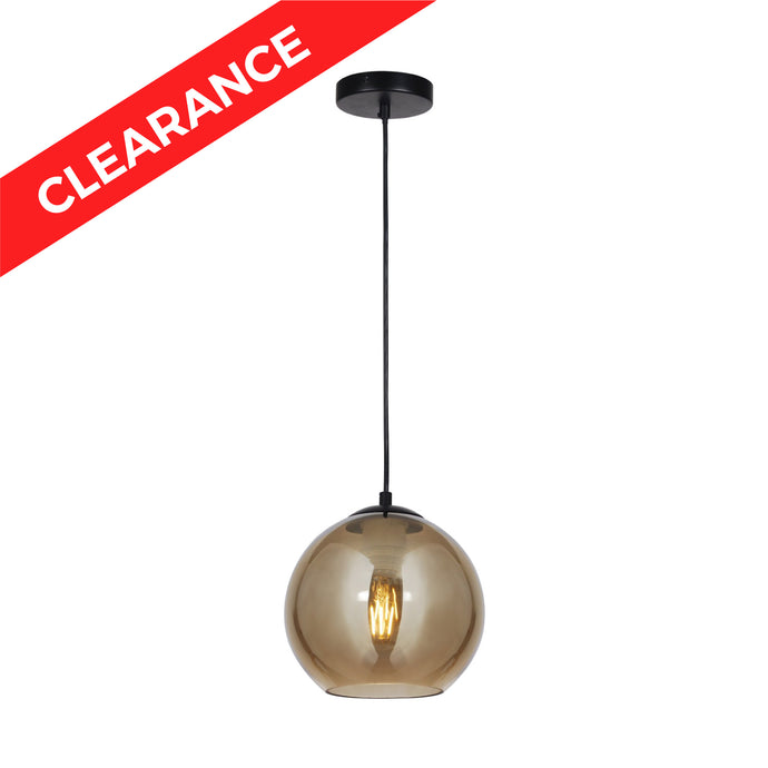 8 inch Pendant with Brass Plated Glass Shade