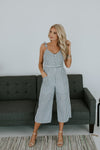 Women's Blue and White Stripe Jumpsuit