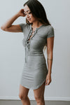 Gray Lace Up Dress