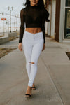 White Jeans with Slits