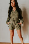 Brown Button Down Romper