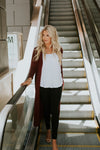Maroon Long Cardigan