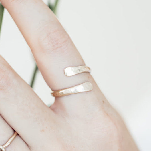 Adjustable Hammered Gold Ring