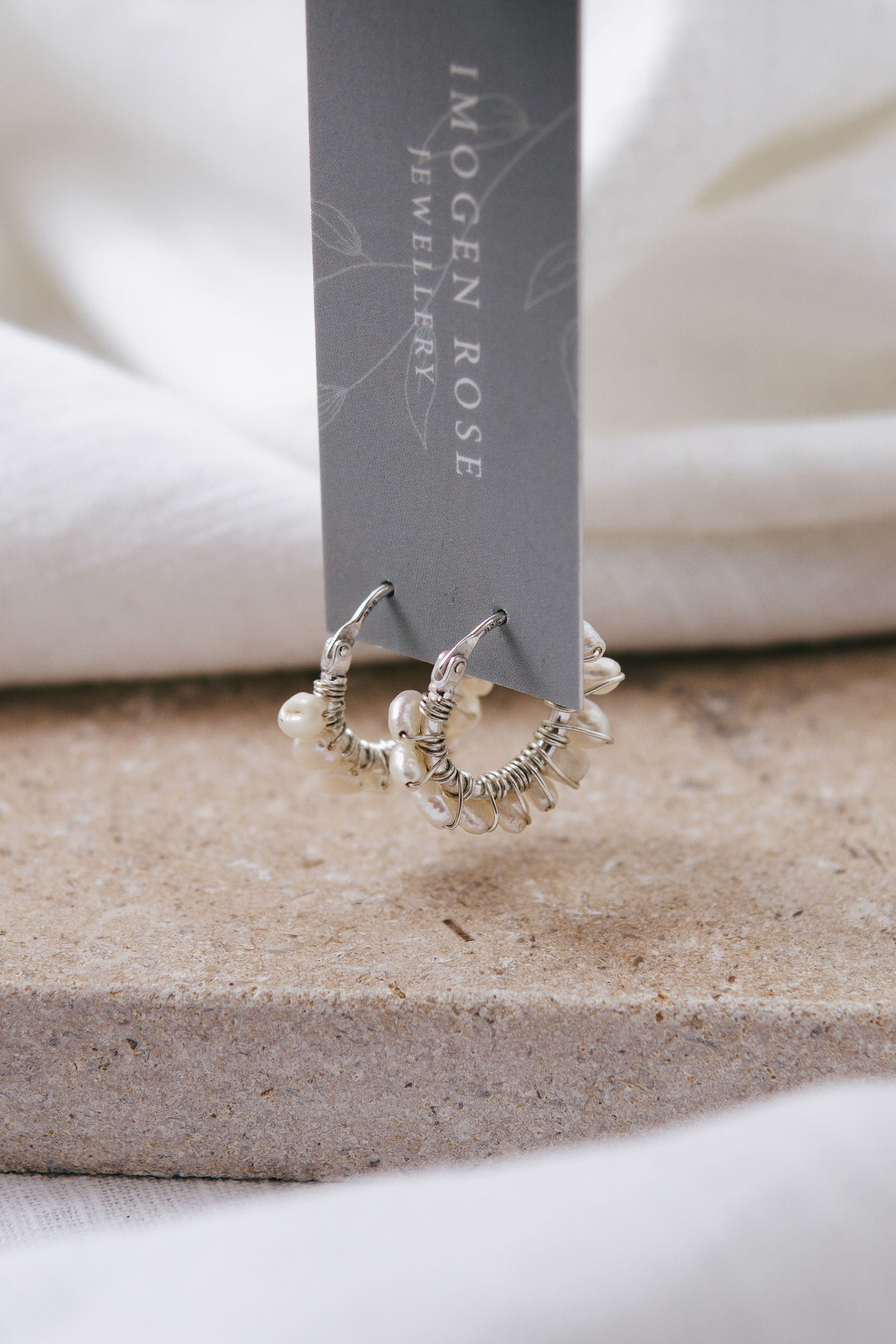 'Petites Perles' Silver Hoop Earrings