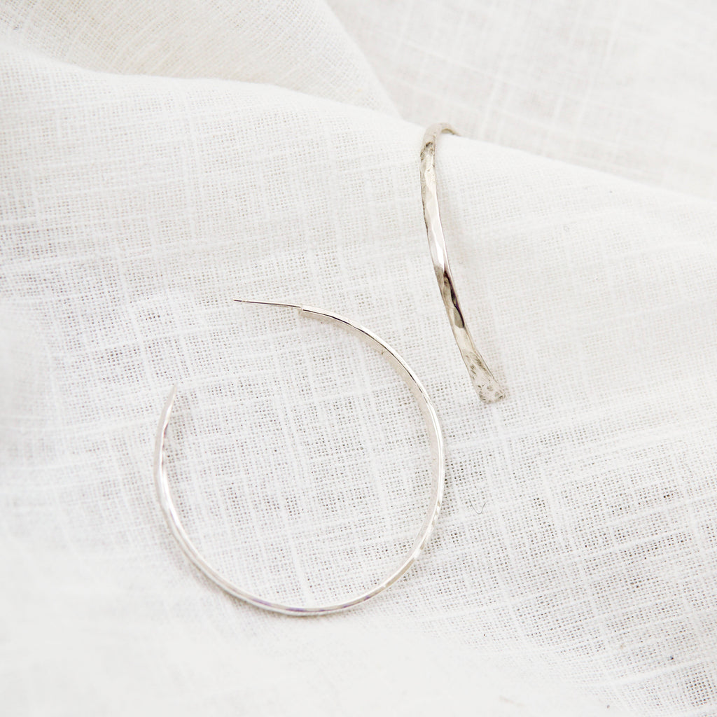 Large Sterling Silver Hammered Hoops
