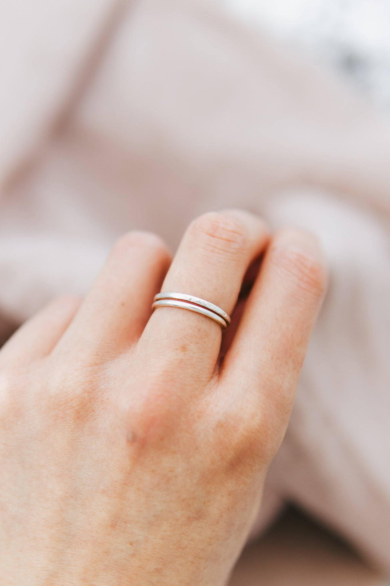 Simple Textured Stacking Ring Set