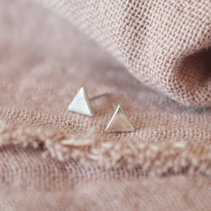 Simple Silver Triangle Stud Earrings