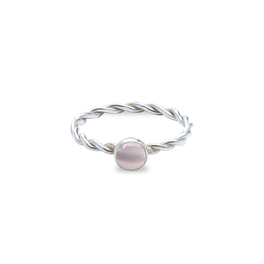 Rose Quartz Forever Entwined Silver Ring
