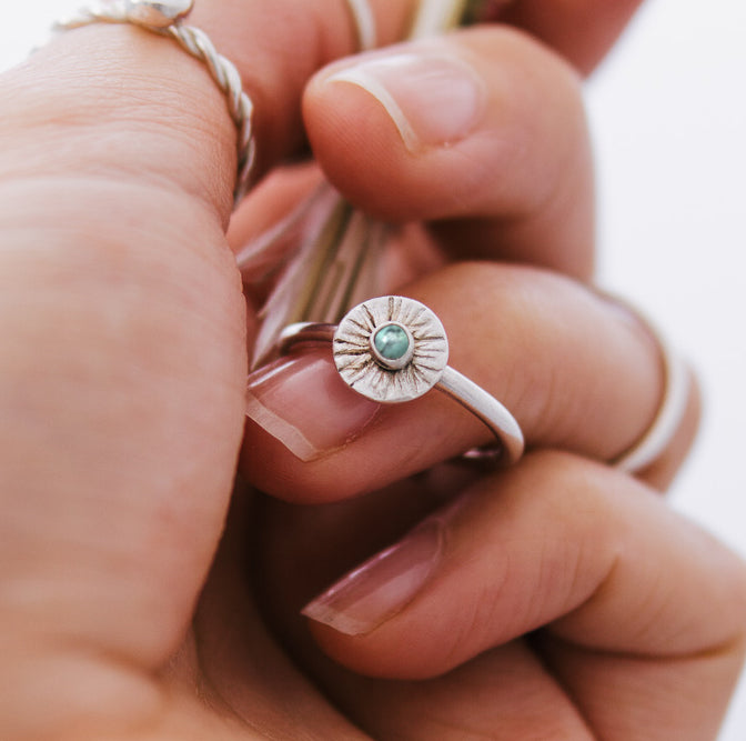 Turquoise Sunbeam Sterling Silver Ring