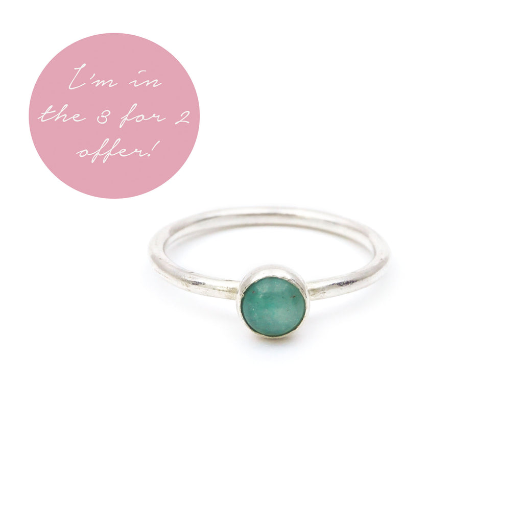 Green Aventurine Gemstone Stacking Ring