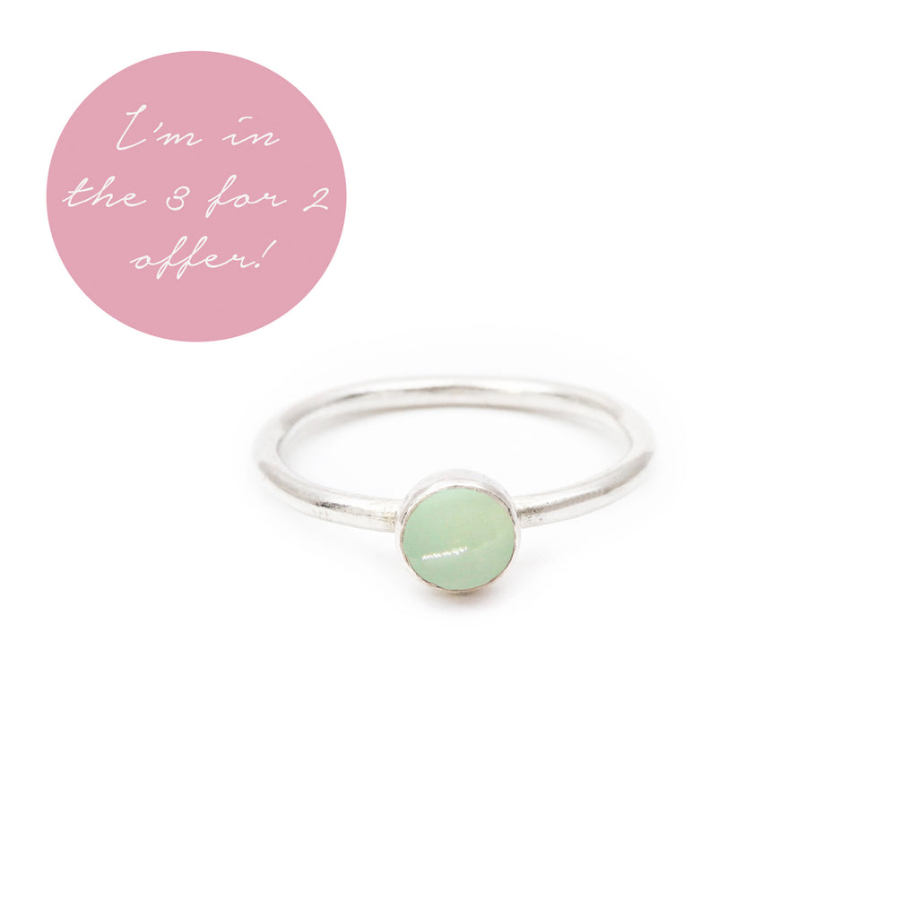Aqua Chalcedony Gemstone Stacking Ring