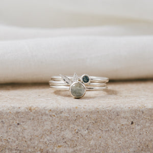 Blue 'Bouquet' Stacking Ring Set