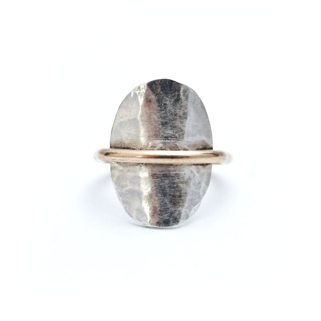 Gold on Silver Inside out Hammered Ring