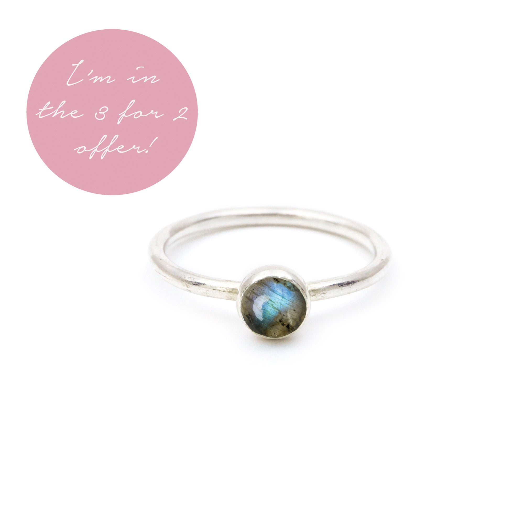 Natural Labradorite Gemstone Stacking Ring