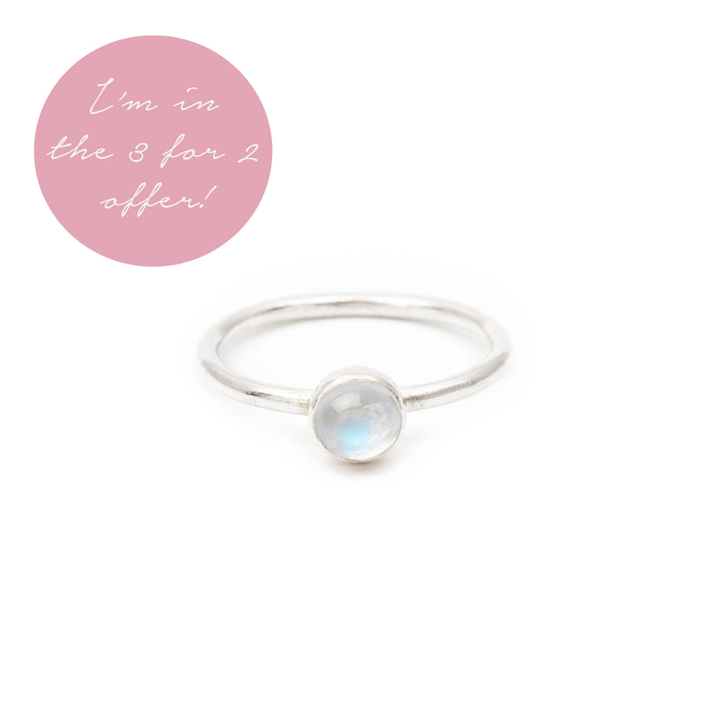 Natural Rainbow Moonstone Stacking Ring