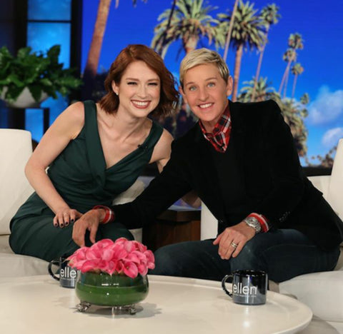 Ellie Kemper in Hermosa Cutaway Jumpsuit powergreen at the Ellen Show
