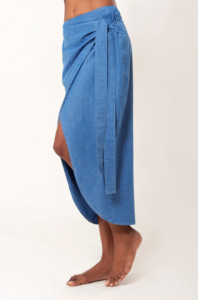 Sinuosa Warp Around Denim Midi Asymmetric Skirt - LèMert