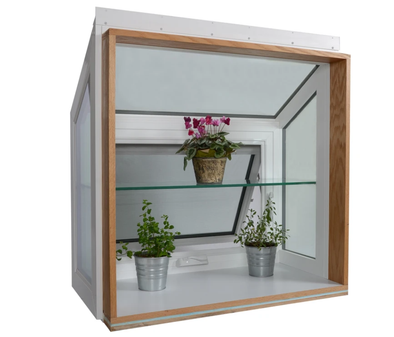 garden window with plant shelving